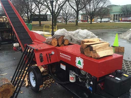 automated log splitters firewood equipment conveyors splitters log grapples